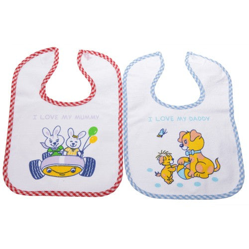 Front - Baby Unisex Animal Design Bibs With Fastening (Pack Of 2)