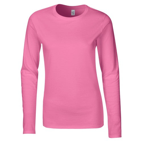 Front - Gildan Ladies Soft Style Long Sleeve T-Shirt