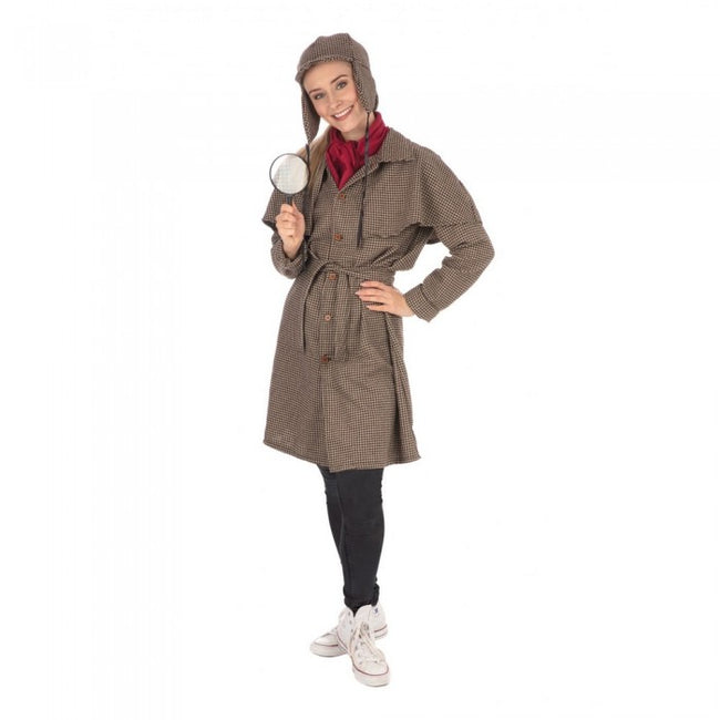 Front - Bristol Novelty Womens/Ladies Long Detective Costume