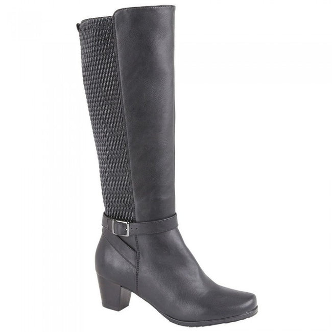 Front - Cipriata Womens/Ladies Elasticated Calf High Leg Boot