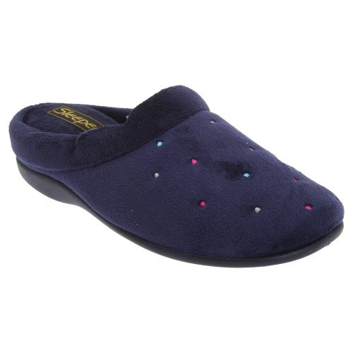 Front - Sleepers Womens/Ladies Charley Extra Comfort Memory Foam Velour Mule Slippers