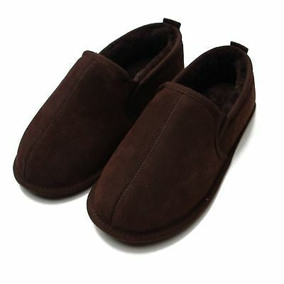 Chocolate - Back - Eastern Counties Leather Mens Sheepskin Lined Hard Sole Slippers