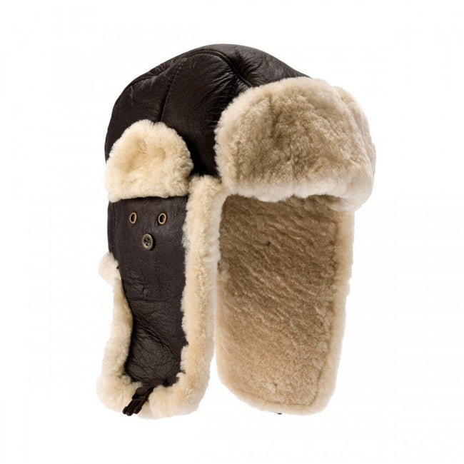 Front - Eastern Counties Leather Mens Shelford Sheepskin Pilot Hat