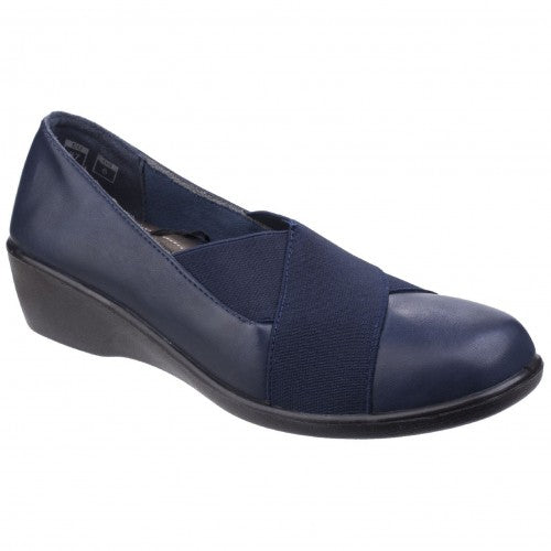 Front - Fleet & Foster Womens/Ladies Limba Elasticated Wedge Shoes