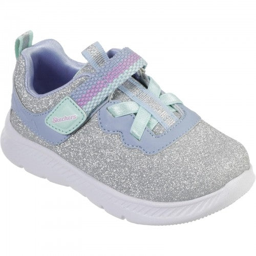 Front - Skechers Comfy Flex 2.0-Lucky Sparkles Girls Touch Fastening Trainer