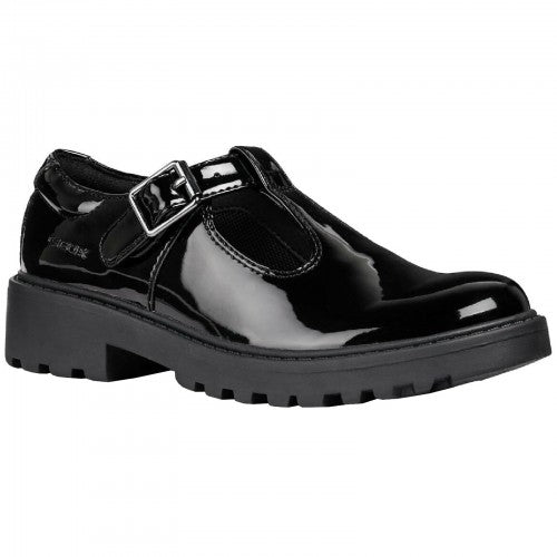 Front - Geox Girls J Casey G E Leather Buckle Shoe