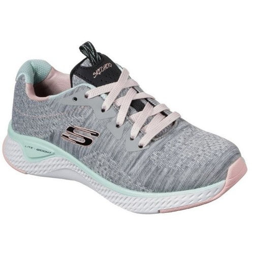 Front - Skechers Girls Solar Fuse Brisk Escape Lace Up Sneaker