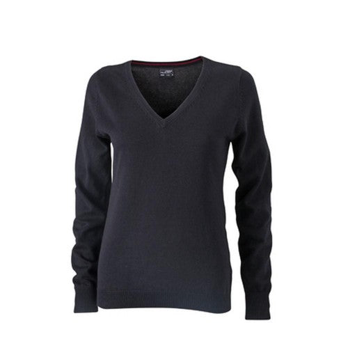 Front - James and Nicholson Womens/Ladies V-Neck Pullover