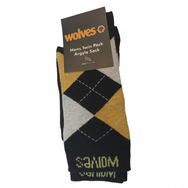 Front - Wolves Mens Argyle Dress Socks (Pack of 2)