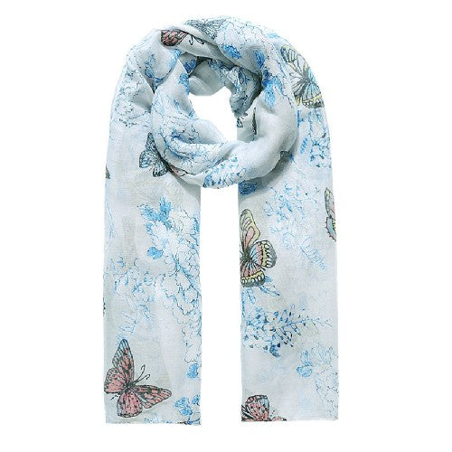 Front - Jewelcity Womens/Ladies Butterfly And Blossom Print Scarf
