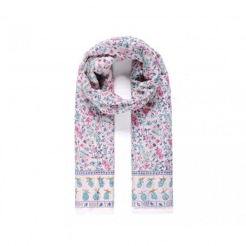 Front - Unbranded Womens/Ladies Pineapple Border Floral Print Scarf