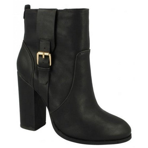 Front - Anne Michelle Womens/Ladies Block Heel Ankle Boots
