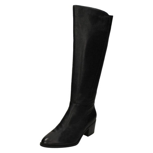 Front - Leather Collection Womens/Ladies Chunky Heel Knee High Leather Boots