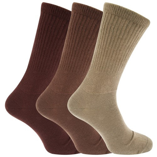 Front - Mens Extra Wide Comfort Fit Wide Feet Diabetic Socks (3 Pairs)