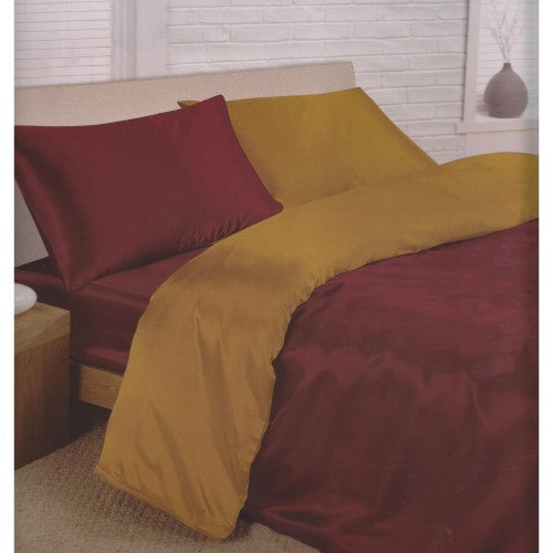 Front - Charisma Satin Reversible Bedding Set (Duvet Cover, Fitted Sheet & Pillowcases)
