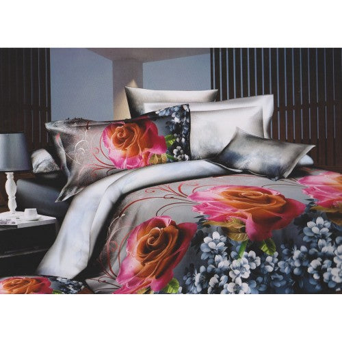 Front - Grey & Pink Rose Printed Bedding Set Collection