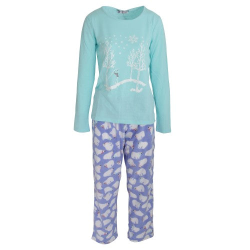 Front - Tom Franks Womens/Ladies Jersey And Fleece Pajama Set