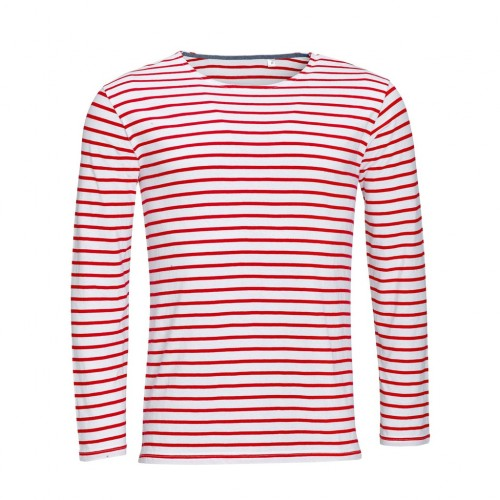 Front - SOLS Mens Marine Long Sleeve Stripe T-Shirt