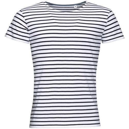 Front - SOLS Mens Miles Striped Short Sleeve T-Shirt