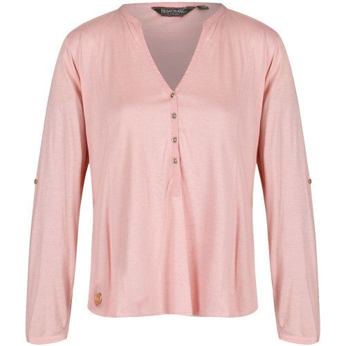 Front - Regatta Womens/Ladies Fiorella Long Sleeve V Neck Buttoned Top