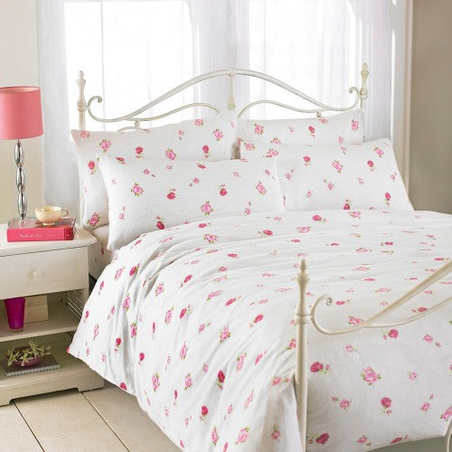Front - Riva Home Rose Printed Flannelette Flat Sheet
