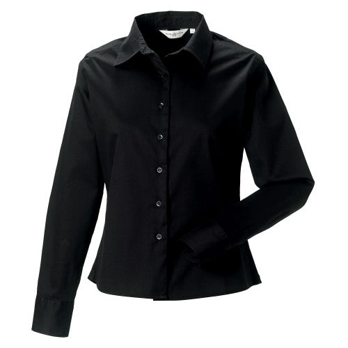Front - Russell Collection Womens/Ladies Long Sleeve Classic Twill Shirt
