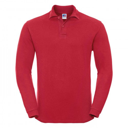 Front - Russell Europe Mens Long Sleeve Classic Cotton Polo Shirt