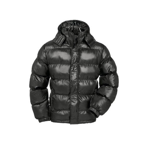 Front - B&C Mens Cocoon Padded Hooded Full Zip Jacket