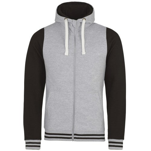 Front - AWDis Just Hoods Adults Unisex Urban Varsity Full Zip Hoodie