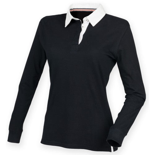 Front - Front Row Womens/Ladies Premium Long Sleeve Rugby Shirt/Top