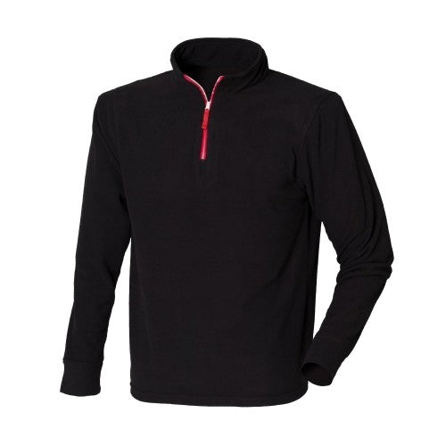 Front - Finden & Hales Mens 1/4 Zip Long Sleeve Piped Fleece Top