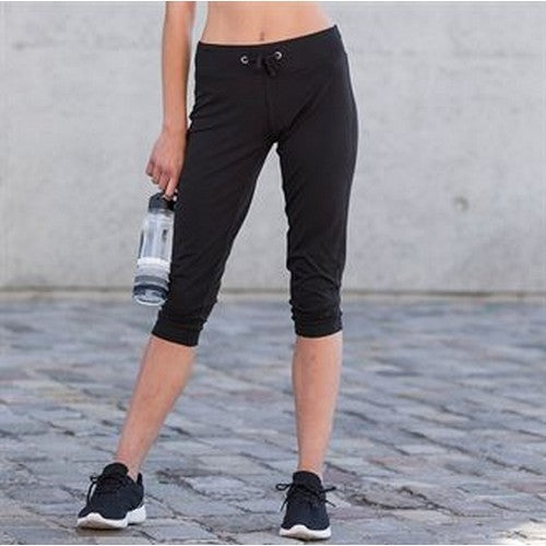 Black - Back - Skinni Fit Womens-Ladies Three Quarter Workout Pants-Bottoms