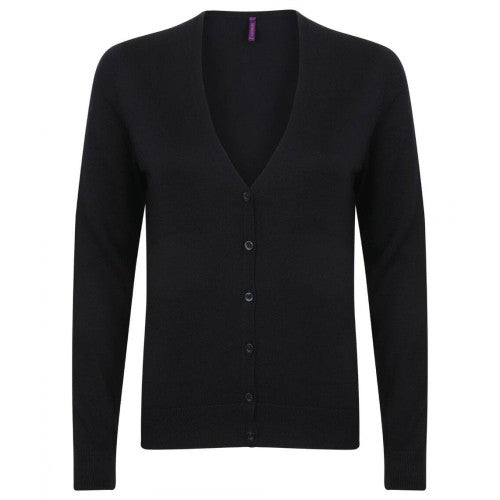 Front - Henbury Womens/Ladies V-Neck Button Up Cardigan