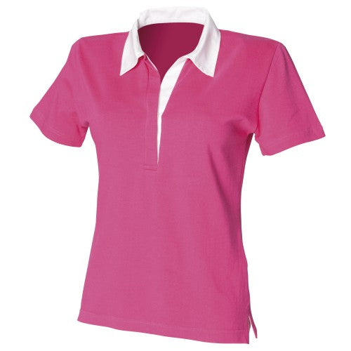 Front - Front Row Womens/Ladies Short Sleeve Stretch Rugby Shirt
