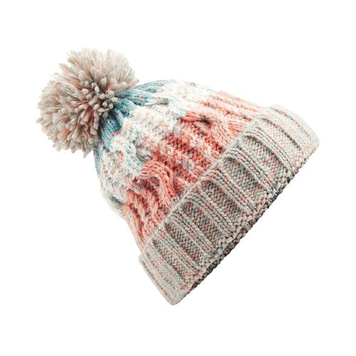 Front - Beechfield Unisex Adults Corkscrew Knitted Pom Pom Beanie Hat