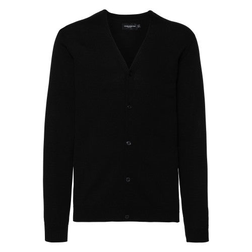 Front - Russell Collection Mens V-neck Knitted Cardigan