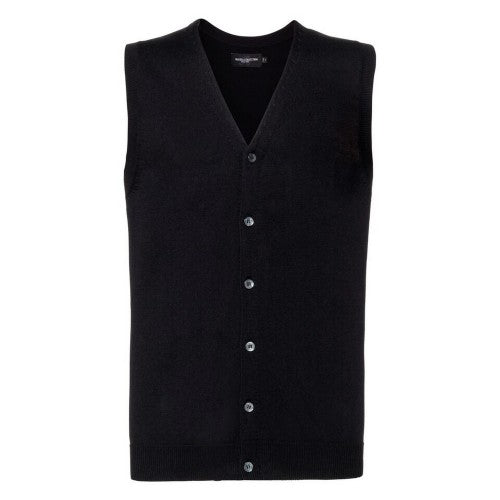 Front - Russell Collection Mens V-neck Sleeveless Knitted Cardigan