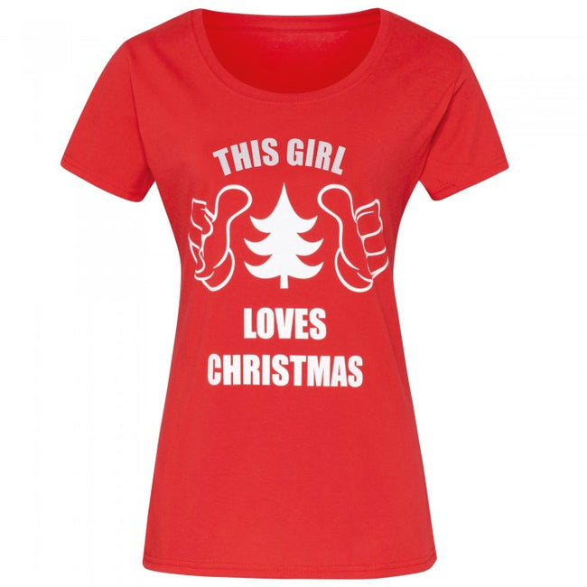 Front - Christmas Shop Womens/Ladies This Girl Loves Christmas Short Sleeve T-Shirt