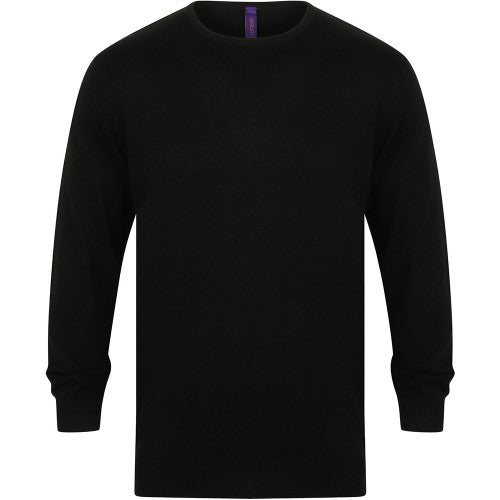 Front - Henbury Mens Crew Neck 12 Gauge Fine Knit Jumper / Sweatshirt