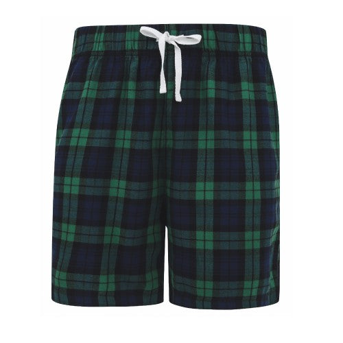 Front - Skinni Fit Mens Tartan Lounge Shorts