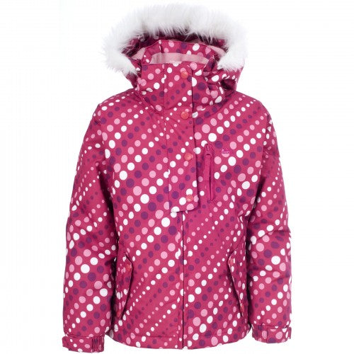 Front - Trespass Youths Girls Ameera Zip Up Hooded Waterproof Ski Jacket