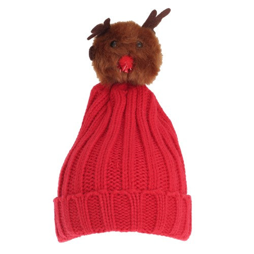 Front - Foxbury Womens/Ladies Christmas Rudolph Knitted Hat