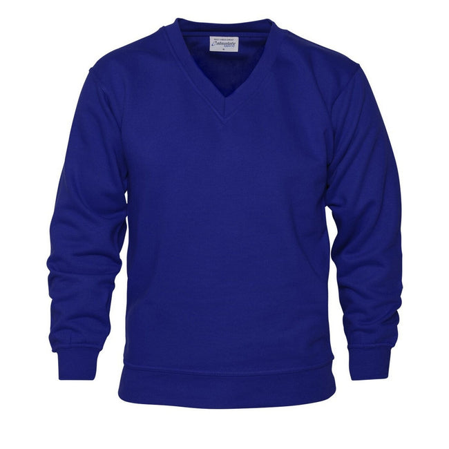 Royal - Front - Absolute Apparel Mens V Neck Sweat