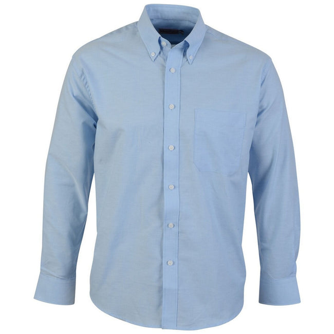 Light Blue - Front - Absolute Apparel Mens Long Sleeved Oxford Shirt