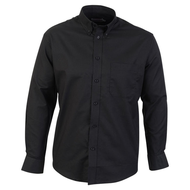 Black - Front - Absolute Apparel Mens Long Sleeved Oxford Shirt