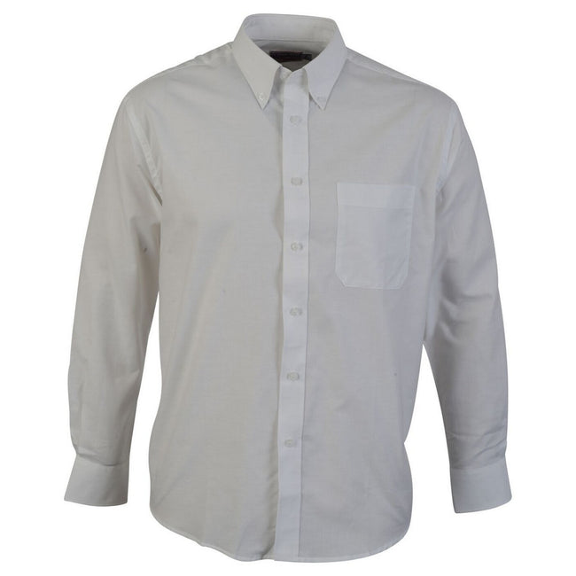 White - Front - Absolute Apparel Mens Long Sleeved Oxford Shirt