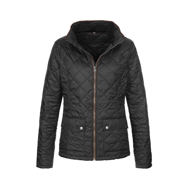 Black Opal - Front - Stedman Womens-Ladies Active Quilted Jacket