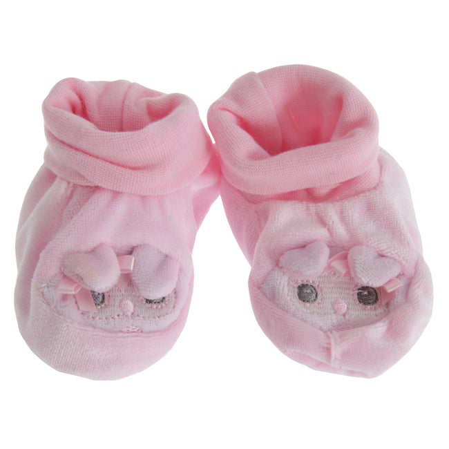 Pink - Front - Nursery Time Baby Animal Face Booties