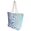 White-Blue - Front - FLOSO Womens-Ladies Zebra Stripe Patterned Straw Woven Summer Handbag