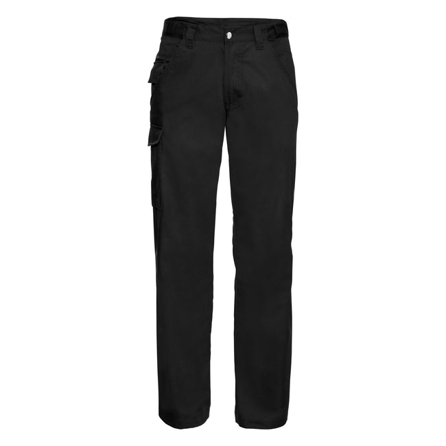 Black - Front - Russell Workwear Mens Polycotton Twill Trouser - Pants (Long)